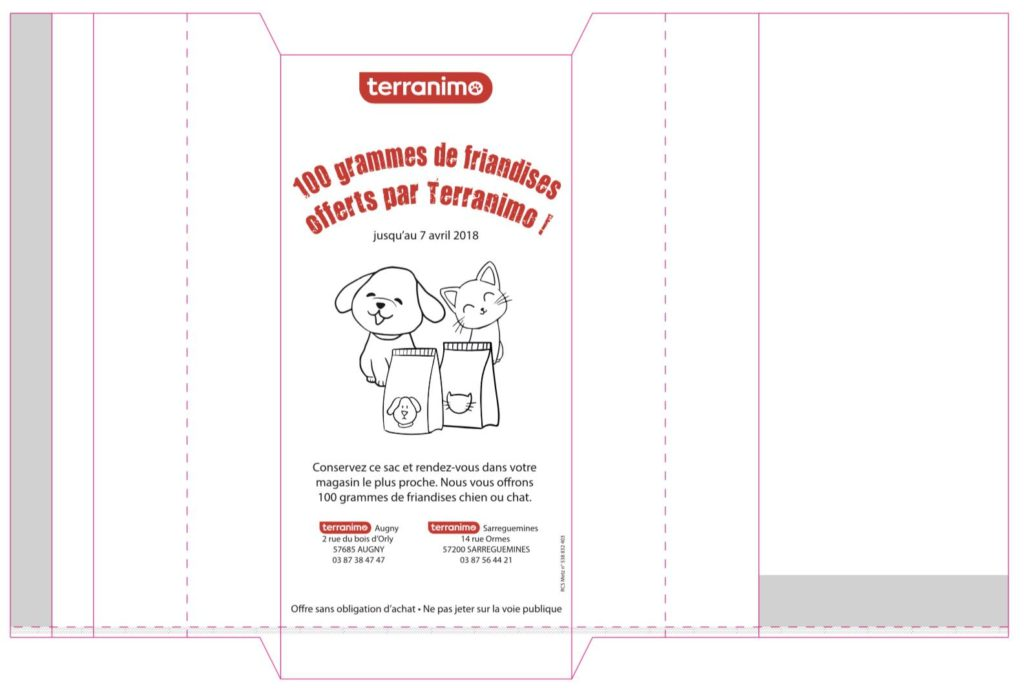 sachets promotionnels terranimo, animaux de compagnie